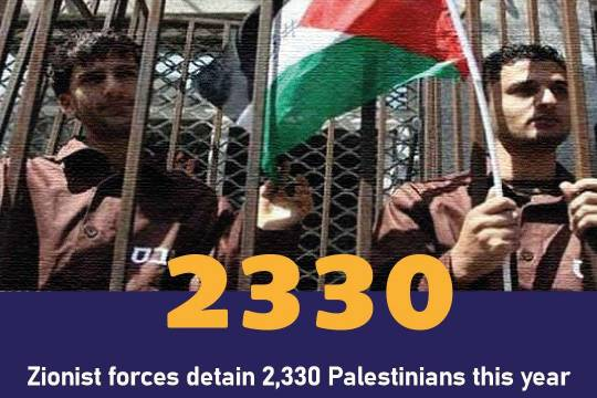 Zionist forces detain 2,330 Palestinians this year